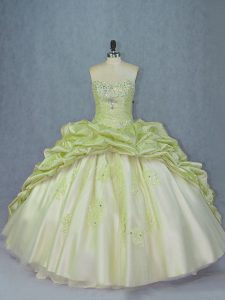 Beauteous Yellow Green Sweet 16 Dress Sweet 16 and Quinceanera with Beading and Appliques Sweetheart Sleeveless Brush Train Lace Up