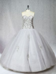 White Organza Zipper Quince Ball Gowns Sleeveless Floor Length Beading