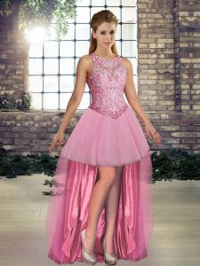 Designer Pink Scoop Lace Up Beading Dress for Prom Sleeveless