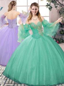 Hot Selling Ball Gowns Sweet 16 Dresses Apple Green Sweetheart Tulle Sleeveless Floor Length Lace Up