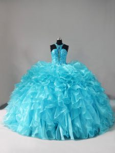 Best Sleeveless Organza Brush Train Lace Up Quinceanera Dress in Aqua Blue with Beading and Ruffles