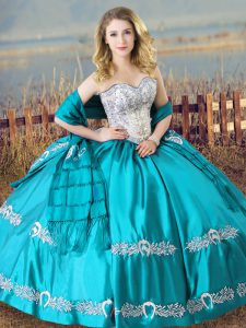 High Quality Aqua Blue Sleeveless Satin Lace Up Quince Ball Gowns for Sweet 16 and Quinceanera