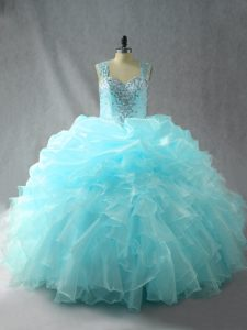 Aqua Blue Sleeveless Tulle Zipper Sweet 16 Dress for Quinceanera