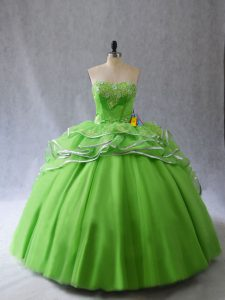 Sleeveless Appliques and Ruffles Lace Up Quinceanera Gown