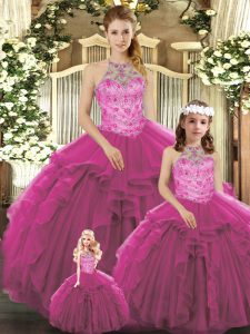 Ideal Sleeveless Floor Length Beading and Ruffles Lace Up Ball Gown Prom Dress with Fuchsia