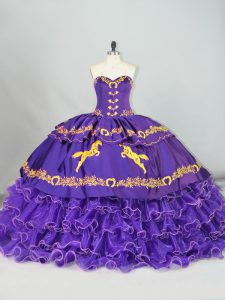 Purple Sweetheart Neckline Embroidery and Ruffled Layers 15 Quinceanera Dress Sleeveless Lace Up