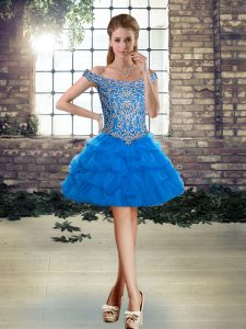 Blue Off The Shoulder Neckline Beading and Pick Ups Cocktail Dresses Sleeveless Lace Up