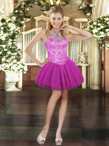 Trendy Halter Top Sleeveless Lace Up Prom Evening Gown Fuchsia Tulle