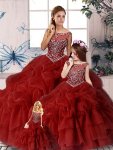 Sophisticated Wine Red Zipper Quinceanera Dresses Beading and Pick Ups Sleeveless Brush Train