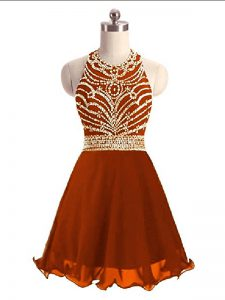 Cute Mini Length Rust Red Dress for Prom Halter Top Sleeveless Zipper