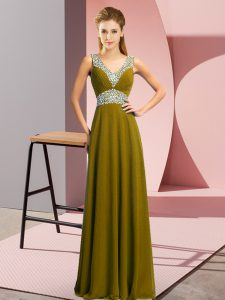 Floor Length Lace Up Celebrity Dresses Olive Green for Prom and Party with Beading