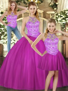 Adorable Halter Top Sleeveless Tulle Sweet 16 Dress Beading Lace Up