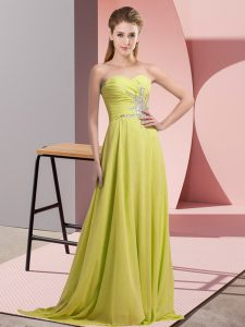 Sweet Sleeveless Floor Length Beading Lace Up Prom Evening Gown with Yellow Green