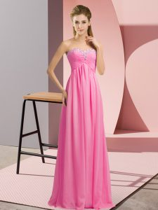 Floor Length Empire Sleeveless Rose Pink Lace Up