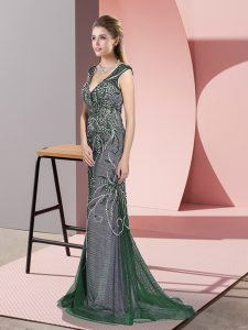Lovely Dark Green V-neck Zipper Beading Evening Dress Sweep Train Sleeveless