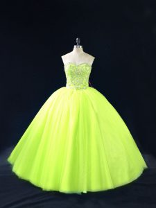 Sleeveless Tulle Floor Length Lace Up Quinceanera Gowns in Yellow Green with Beading