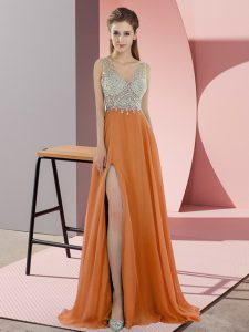 Designer Orange Zipper V-neck Beading Prom Gown Chiffon Sleeveless Sweep Train