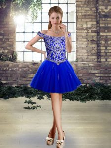 Royal Blue Lace Up Off The Shoulder Beading and Appliques Cocktail Dress Tulle Sleeveless