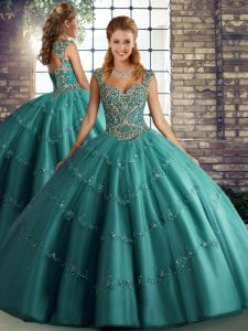 Teal Sleeveless Beading and Appliques Floor Length Quinceanera Dress