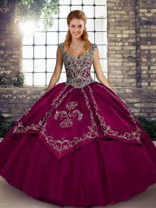 Fuchsia Tulle Lace Up 15th Birthday Dress Sleeveless Floor Length Beading and Embroidery