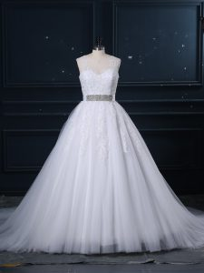 Great Zipper Bridal Gown White for Wedding Party with Beading and Lace Brush Train