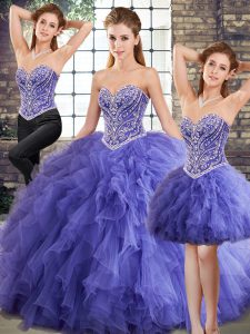 Sweetheart Sleeveless Sweet 16 Quinceanera Dress Floor Length Beading and Ruffles Lavender Tulle