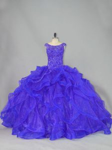 Unique Blue Lace Up Scoop Beading and Ruffles Quinceanera Gown Organza Sleeveless Brush Train