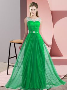 Modest Green Lace Up Scoop Beading Wedding Guest Dresses Chiffon Sleeveless