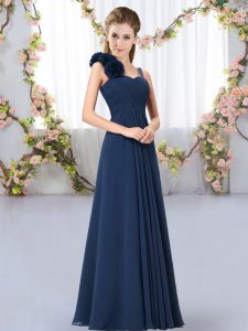 Sleeveless Floor Length Hand Made Flower Lace Up Damas Dress with Navy Blue