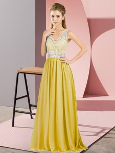 Exquisite V-neck Sleeveless Chiffon Prom Dresses Beading and Lace Criss Cross