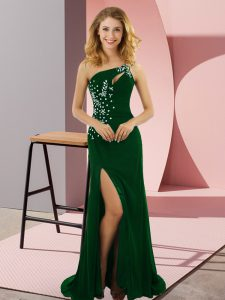 Cheap Dark Green Column/Sheath One Shoulder Sleeveless Elastic Woven Satin Sweep Train Lace Up Beading Evening Dress