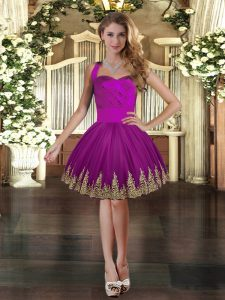 Best Mini Length Purple Prom Party Dress Tulle Sleeveless Embroidery