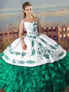 Floor Length Ball Gowns Sleeveless Green Quinceanera Dress Lace Up