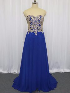 Royal Blue Sweetheart Zipper Lace and Appliques Homecoming Dress Brush Train Sleeveless