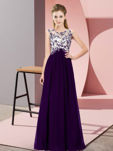 Fashion Purple Sleeveless Floor Length Beading and Appliques Zipper Damas Dress