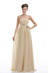 Light Yellow Sleeveless Chiffon Lace Up Prom Homecoming Dress for Prom and Party and Military Ball