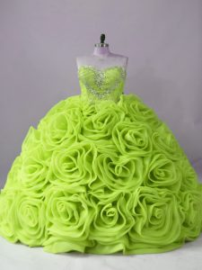 Yellow Green Fabric With Rolling Flowers Lace Up Sweetheart Sleeveless Vestidos de Quinceanera Brush Train Beading