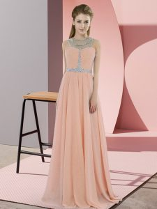 Floor Length Zipper Evening Party Dresses Peach for Prom and Party with Beading