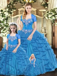 Blue Ball Gowns Tulle Sweetheart Sleeveless Beading and Ruffles Floor Length Lace Up 15th Birthday Dress