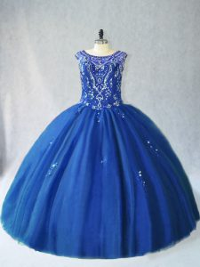 Dazzling Blue Lace Up Scoop Beading Quinceanera Dress Tulle Sleeveless