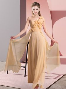 Custom Designed Chiffon One Shoulder Sleeveless Lace Up Hand Made Flower Bridesmaid Dress in Peach