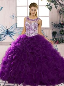 Purple Lace Up Scoop Beading and Ruffles Quinceanera Gown Organza Sleeveless