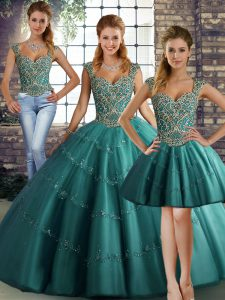 Nice Teal Tulle Lace Up Vestidos de Quinceanera Sleeveless Floor Length Beading and Appliques