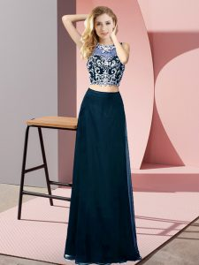 Stylish Floor Length Two Pieces Sleeveless Teal Pageant Dress Wholesale Backless