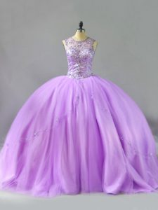 Spectacular Scoop Sleeveless Quinceanera Dress Floor Length Beading Lavender Tulle