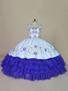 Blue and Purple Sleeveless Satin and Organza Lace Up Quinceanera Gown for Sweet 16 and Quinceanera