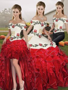 White And Red Off The Shoulder Lace Up Embroidery and Ruffles Sweet 16 Quinceanera Dress Sleeveless