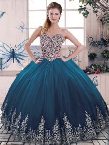 Trendy Blue Sleeveless Floor Length Beading and Appliques Lace Up Ball Gown Prom Dress