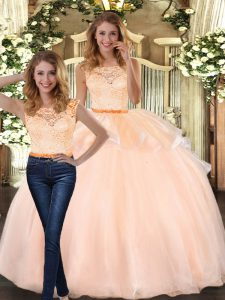 Scoop Sleeveless Organza Quinceanera Gowns Lace Zipper