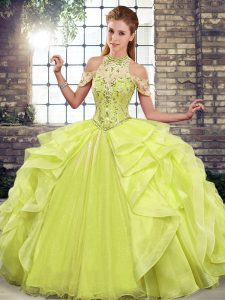 Fabulous Halter Top Sleeveless Quinceanera Gowns Floor Length Beading and Ruffles Yellow Green Organza